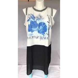 Worthington Plus Sleeveless Floral Tunic